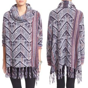 Free People Be The One Fringe Poncho Cowl Neck L